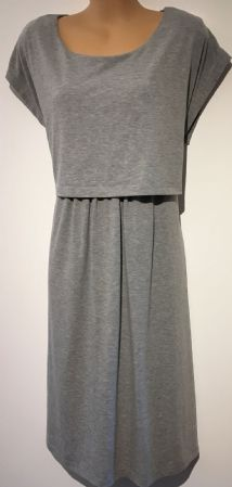 BLOOMING MARVELLOUS GREY KNEE LENGTH MATERNITY & NURSING DRESS SIZE 16